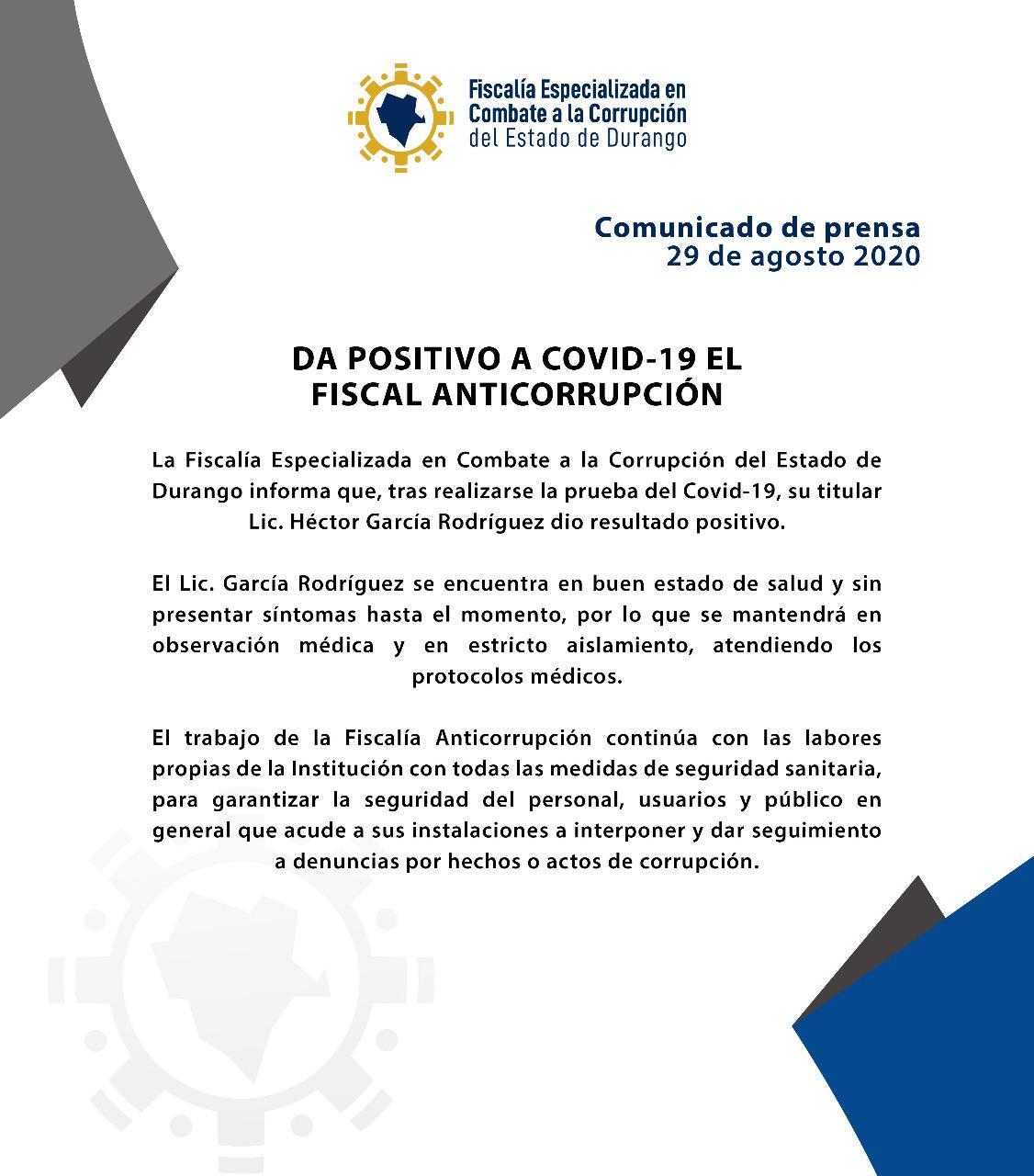 DA POSITIVO A COVID-19 EL FISCAL ANTICORRUPCIÓN